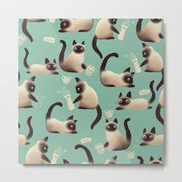 Bad Siamese Cats Knocking Stuff Over Metal Print