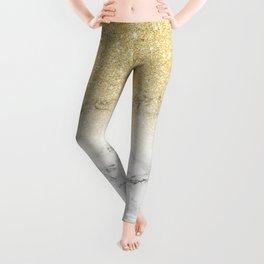 Modern faux gold glitter white marble color block Leggings