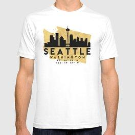 SEATTLE WASHINGTON SILHOUETTE SKYLINE MAP ART T-shirt