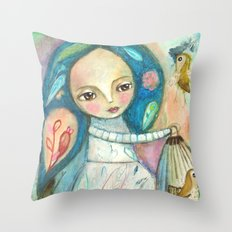 Free to fly - girl and birds Throw Pillow