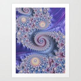 Feathery Flow Lilac - Fractal Art  Art Print