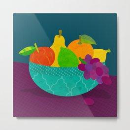 Turquoise Bowl of Fruit Metal Print