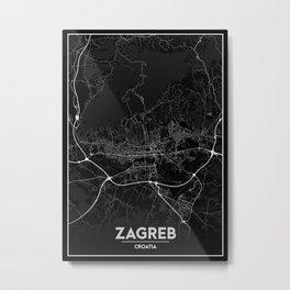 Minimal City Maps - Map of Zagreb Metal Print