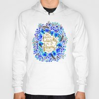 waldo Hoodies featuring The Earth Laughs in Flowers – Gold & Blue by Cat Coquillette