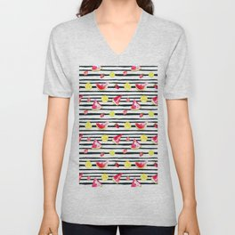 Hand painted black pink yellow watercolor summer fruit pattern Unisex V-Neck