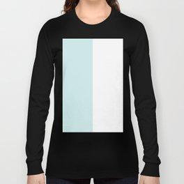 White and Light Cyan Vertical Halves Long Sleeve T-shirt