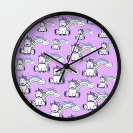 happy unicorns Wall Clock