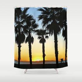 HB Palms & Sunset Shower Curtain