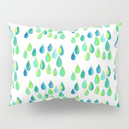 Cherish All of Your Tears blue green pattern tears illustration watercolor inspirational words Pillow Sham