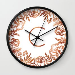Letter C - Faux Rose Gold Glitter Flowers Wall Clock