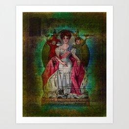 Mixed Media Ephemera Altered Art Woman Flag Art Print