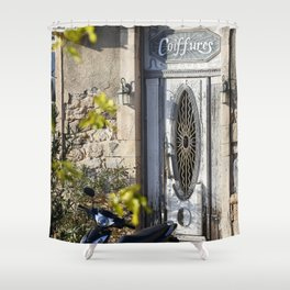 Door in port of Aegina 2 Shower Curtain