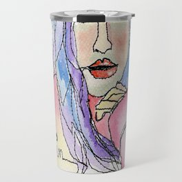 """""""Be in the Moment"""" (freemotion drawing with watercolor) Travel Mug"""