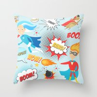 super heroes Throw Pillows featuring Super Heroes by Petit Griffin
