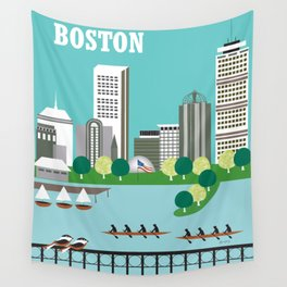 Boston, Massachusetts - Skyline Illustration by Loose Petals Wall Tapestry