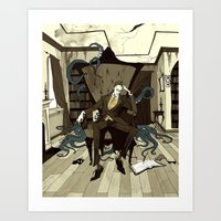 lovecraft Art Prints featuring H.P. Lovecraft by Abigail Larson