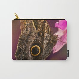 Blue Morpho butterly on pink flowers Carry-All Pouch