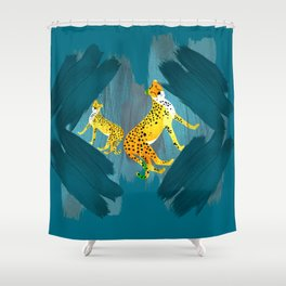 Panther Jungle Hideout Teal Shower Curtain