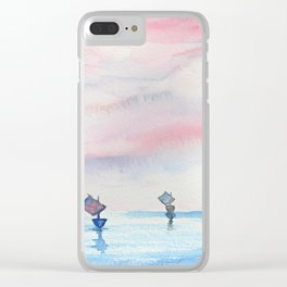 Watercolor ships Clear iPhone Case