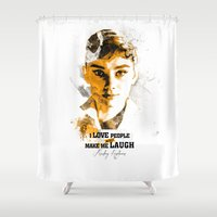 audrey Shower Curtains featuring Audrey by JAnovelty