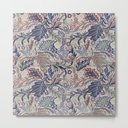 Muted Colors Flower Field, Soft Moss Green Leaves &  Intricate Petrol Blue Floral Blooms Pattern Metal Print