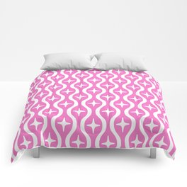 Mid century Modern Bulbous Star Pattern Pink Comforters