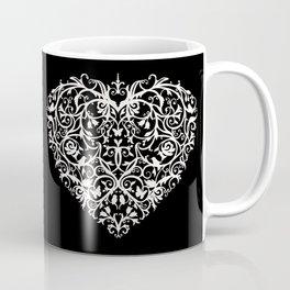 Intricate Heart- Monochrome inversed Coffee Mug