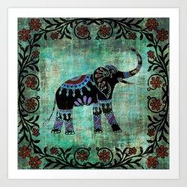Decorated Elephant Rustic Floral Design Art Print