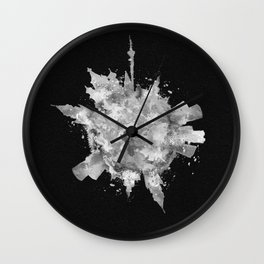 Moscow, Russia Black and White Skyround / Skyline Watercolor Painting (Inverted Version) Wall Clock