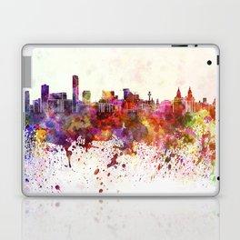 Liverpool skyline in watercolor background Laptop & iPad Skin