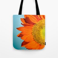 sunflowers Tote Bags featuring sunflowers by mark ashkenazi