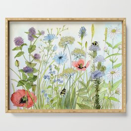 Floral Watercolor Botanical Cottage Garden Flowers Bees Nature Art Serving Tray