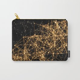 Shiny golden dots connected lines on black Carry-All Pouch