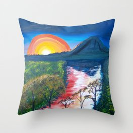 Brisbane River and Mt Crosby at Sunset Throw Pillow