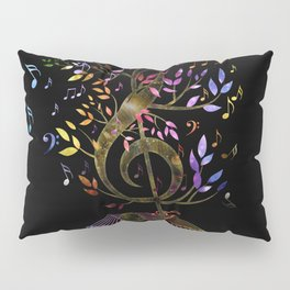 Glowing Treble Clef tree with colorful Music Notes Pillow Sham