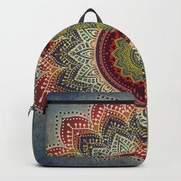 Retro Folk Art - Spirit Lotus Mandala Blue Red Backpack