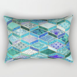 Sapphire & Emerald Diamond Patchwork Pattern Rectangular Pillow