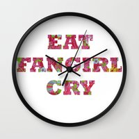 fangirl Wall Clocks featuring Eat Fangirl Cry by BeeJL