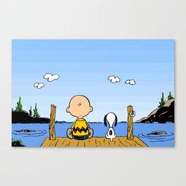 Charlie Brown Snoopy On Dock Canvas Print