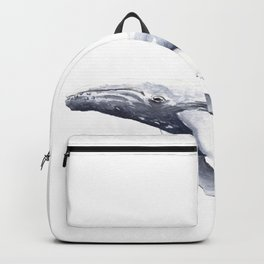 Blue Whale Watercolour Navy Backpack