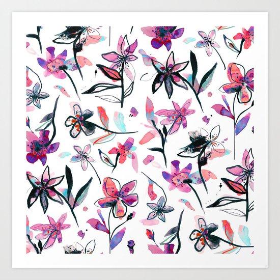 Ink flowers pattern - Viola Art Print