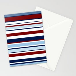 Nautical Stripes - Blue Red White Stationery Cards