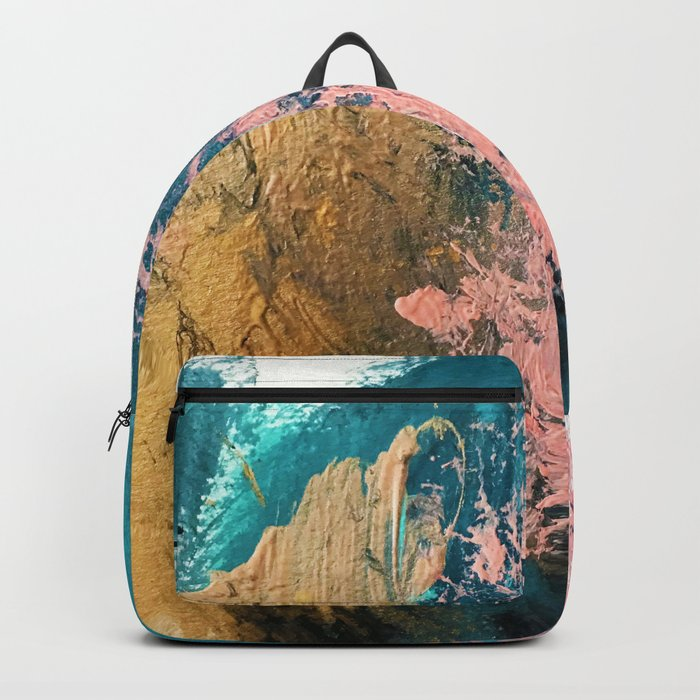 Coral Reef [1]: colorful abstract in blue, teal, gold, and pink Rucksack