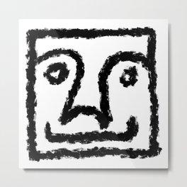 Minimalist Brush Stroke Face 011 Metal Print