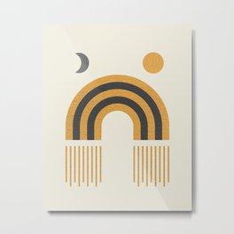 Sun and Moon Rainbow Midcentury style Metal Print