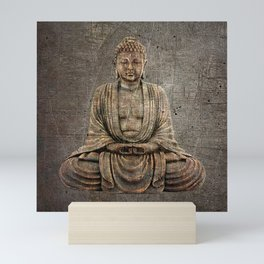 Sitting Buddha On Distressed Metal Background Mini Art Print
