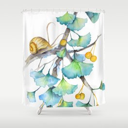Ginkgo and A Snail Shower Curtain