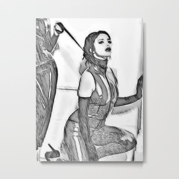 Good Girl knows her place, mistress and pet, slave girl fetish, black and white Metal Print