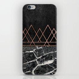 Elegant Rose Gold Triangles Black White Marble iPhone Skin