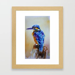 Blue bird in watercolor Framed Art Print